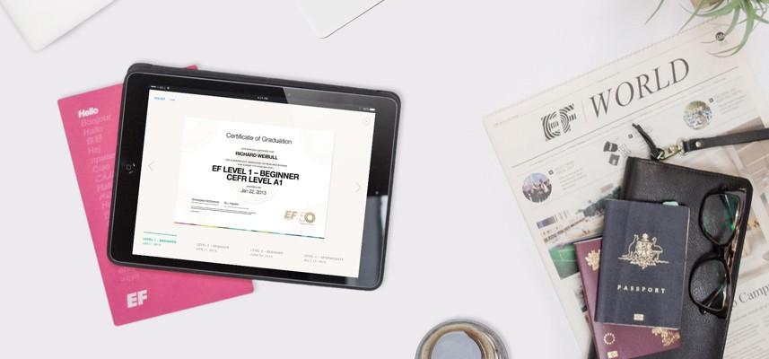 """شهادة موازية لنظام الإطار الأوروبي المرجعي للغات """"CEFR"""" من EF إنجليش لايف"""